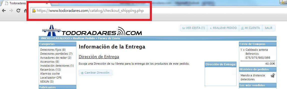 Tienda Todoradares con certificado https. Seguridad de los datos personales de nuestros clientes.