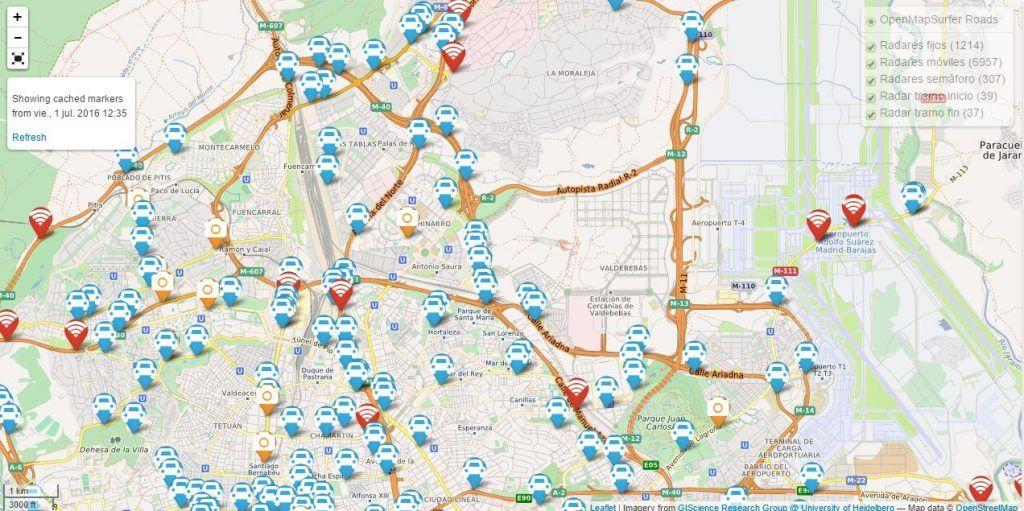 Mapa radares fijos móviles España