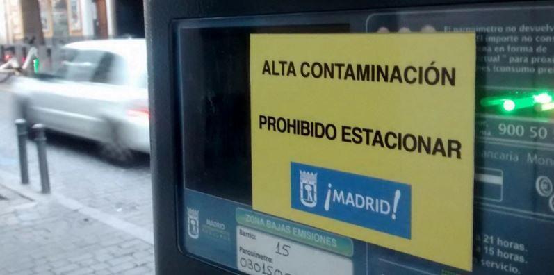 Prohibido aparcar zona SER por contaminación Madrid