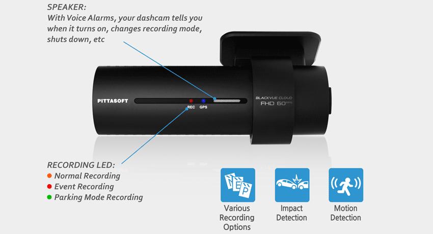 Blackvue DR750S Sensor movimiento sensor impacto