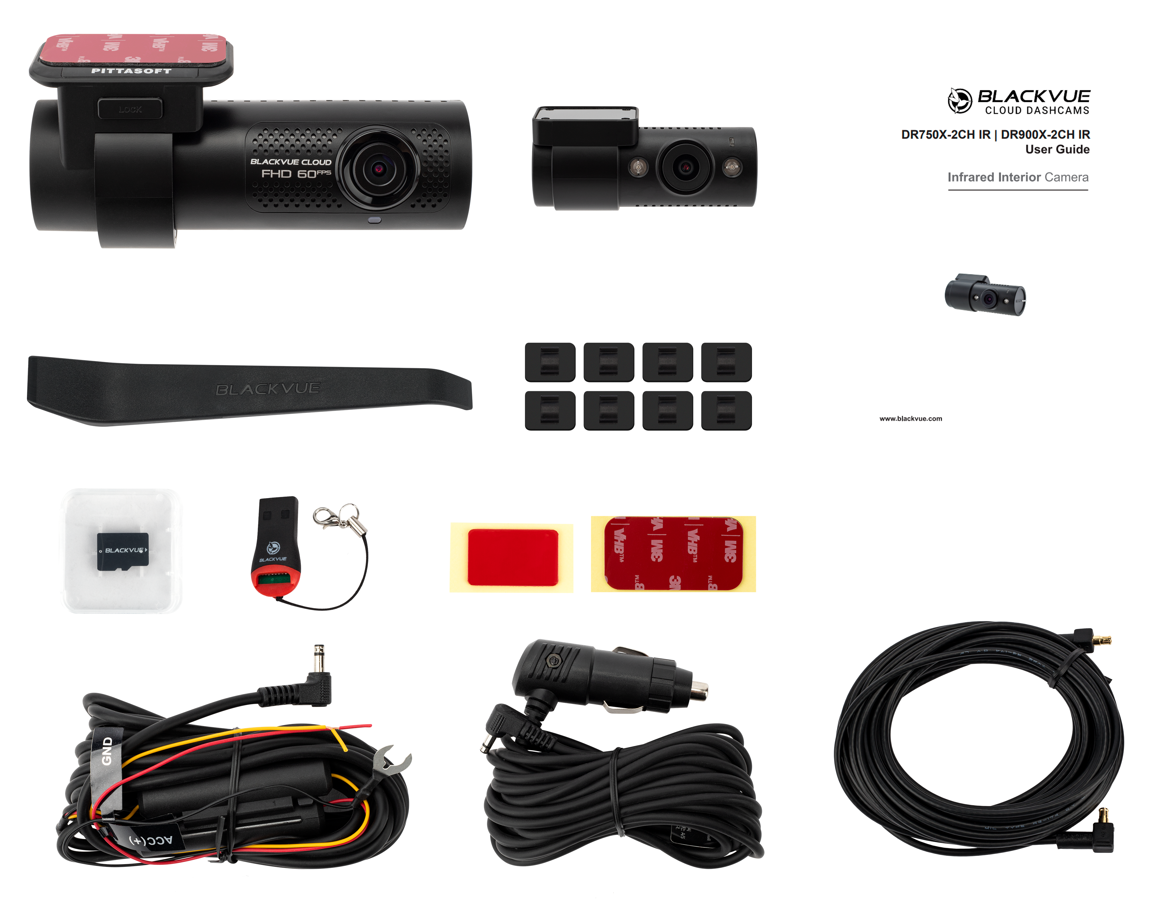 Blackvue DR750 2CH IR TAXI-VTC Contenido pack